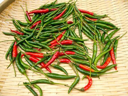 Lots of chili on basket photo
