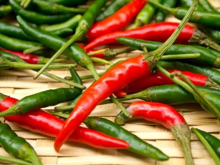 Red chili on basket photo