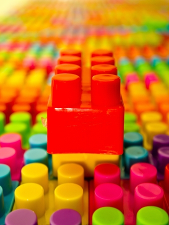 Red lego block on the top