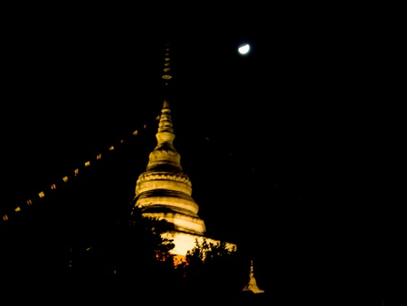 Thai stupa in the night which is in Wat Phra That Khao Noi  Nan-Thailand 1