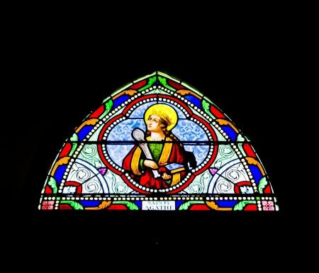 Saint Agathe Mosaic window Stock Photo