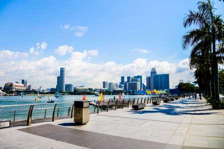 Walk way of Marina bay in Singapore