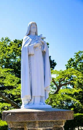 White Maria statue   Stock Photo