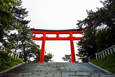 Red Torii in Hakodate Japan