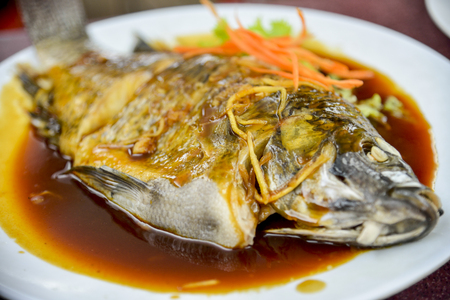 Steamed snapper with soy sauce photo