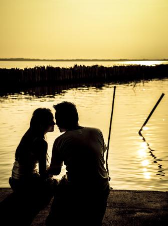 siluette: Siluette couple on sunset