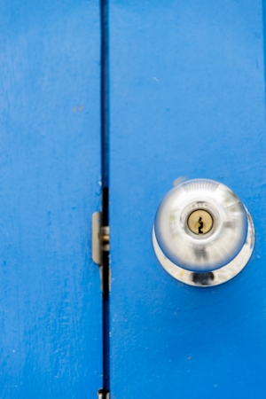 Stainless handle on blue wooden door1 photo