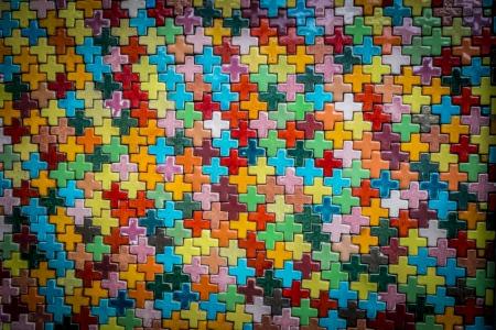 Colorful cross block wall pattern2