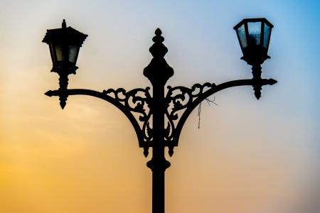 Siluette Street lantern Stock Photo