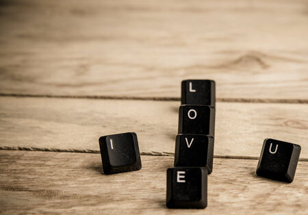 I love you word on the wooden floor photo