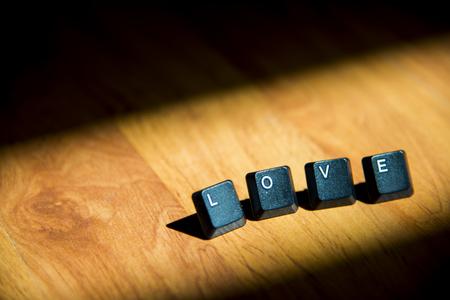 Love word on the laminate floor photo