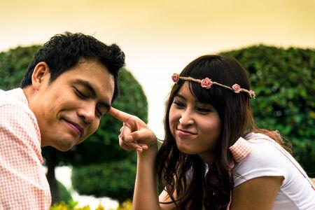 Couple tease in the garden1