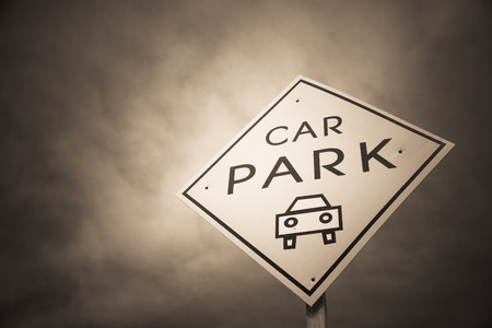 Car park sign in monochrome photo