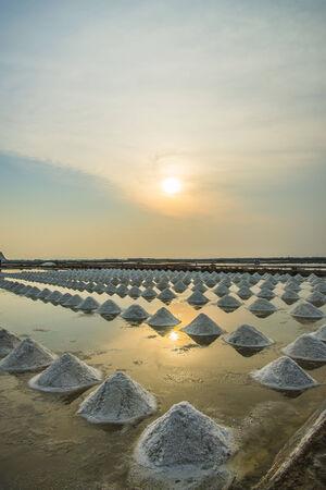 Salt pile in Salt pan with sunset scene photo