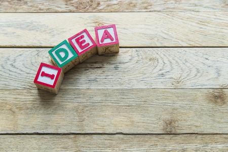 Wooden blocks are Idea word on wooden floor