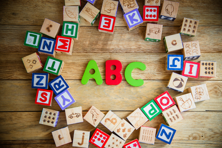 ABC word in wooden block alphabet lay on wooden floor in circle shape photo