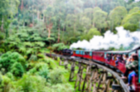 forest railroad: Puffing Billy Train in Blur style Stock Photo