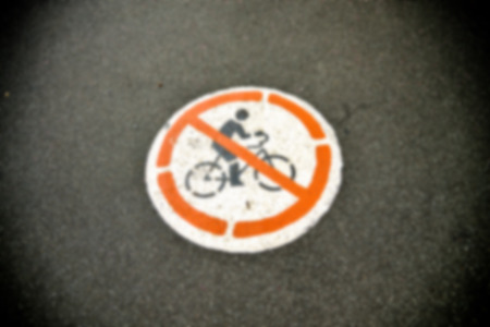 No bicycle sign in Blur style photo