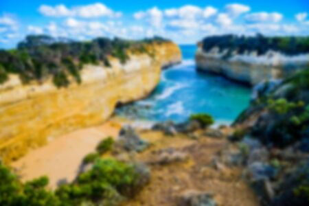 ard: The Loch Ard Gorge Lookout in Great Ocean Road Australia in Blur style Stock Photo