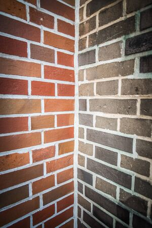 Two tone color of corner brick wall photo