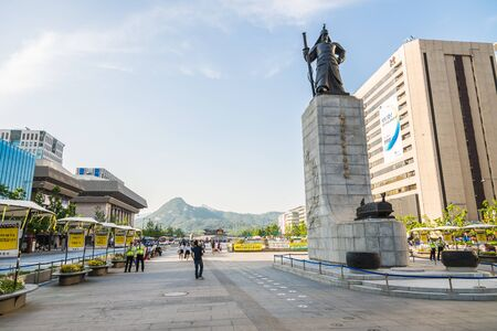 admiral: SEOUL SOUTH KOREA  MAY 10 Statue of Admiral Yi Sunshin in Gwanghwamun Square on May 10 2015 in Seoul South Korea. Admiral Yi Sunshin who is leader for fighting with Japanese millitary
