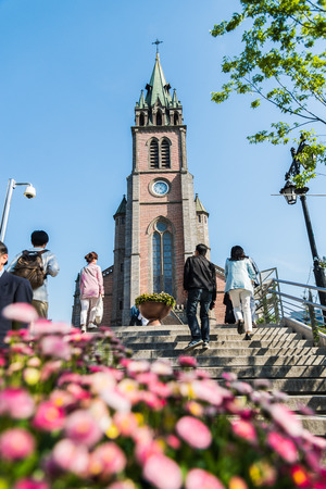 SEOUL SOUTH KOREA  MAY 10 Myeong dong Catholic Cathedral on May 10 2015 in Seoul South Korea. Myeong dong Catholic Cathedral which is older than 110 years for center of Catholic religion  in South Korea