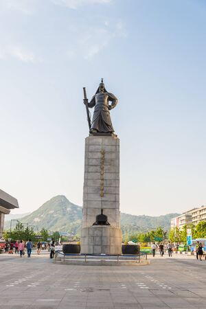 SEOUL SOUTH KOREA  MAY 10 Statue of Admiral Yi Sunshin in Gwanghwamun Square on May 10 2015 in Seoul South Korea. Admiral Yi Sunshin who is leader for fighting with Japanese millitary