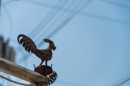 vane: The rusty rooster weather vane