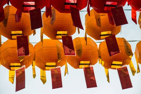 lotus lantern: Yellow paper lantern for Lotus lantern festival in South Korea
