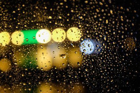 Bokeh of Water drop on window in Blur style