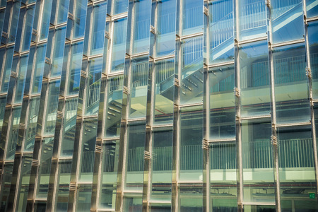 reflect: Building and reflect building on glass wall 2 Stock Photo