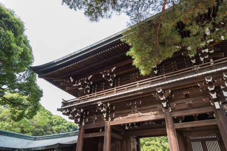 shinto: Wooden shrine Meiji Shinto in Shibuya Japan