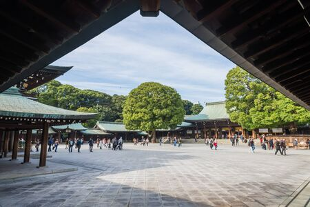 shinto: Famous old classic wooden shrine Meiji Shinto Temple in Shibuya Japan Editorial
