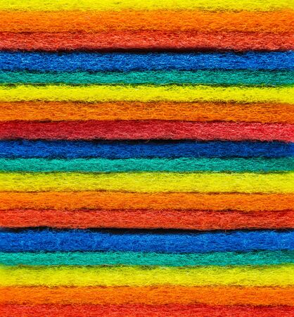 scouring: Horizontal view of Colorful layer Scouring pad with selective focus Stock Photo
