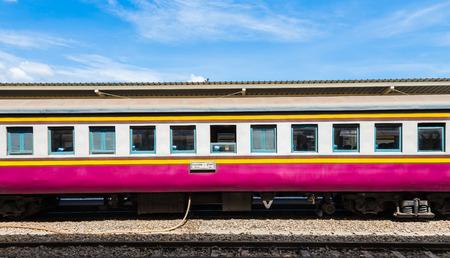 Thai Bogie train parking with blue sky