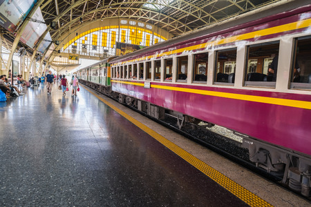 diesel train: Diesel train park at platform number 6 wait for passenger in Bangkok Thailand
