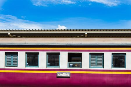 bogie: Thai Bogie train parking with blue sky