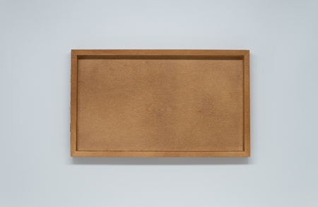 Wooden tray on white background and selective focus