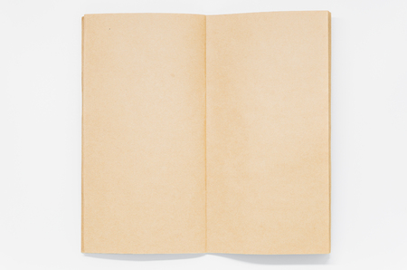 Opened Brown plain notebook on white background and selective focus