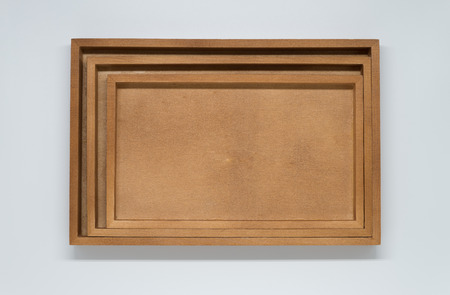 Three wooden tray on white background and selective focus Stock Photo
