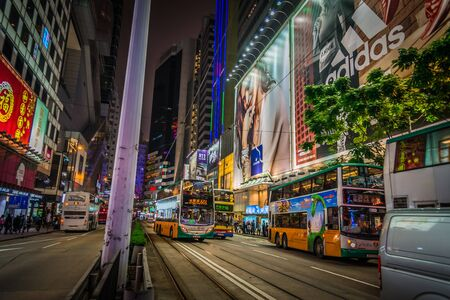 Night street view in Hongkong Stock Photo