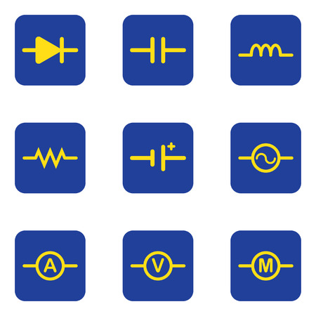 resistor: Electronic symbol diagram icon isolated vector