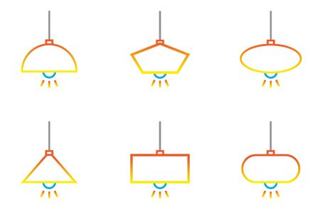Chandelier Hanging lamp out line icon set with isolated white background