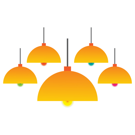 pendant lamp: Colorful hanging lamp with bulbs isolated vector