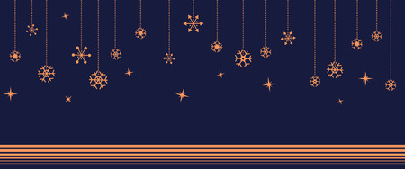 navy blue: Hanging orange beautiful snowflake with star on navy blue background