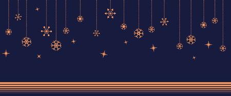 navy blue background: Hanging orange beautiful snowflake with star on navy blue background