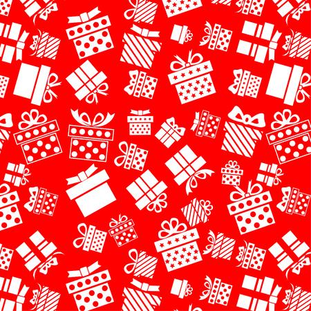White present box icon pattern on red background 일러스트