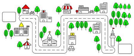 Horizontal view of simple color line urban town map on white background