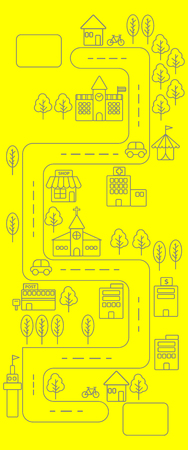 post office building: Vertical view of Simple black line urban town map icon on yellow background Illustration