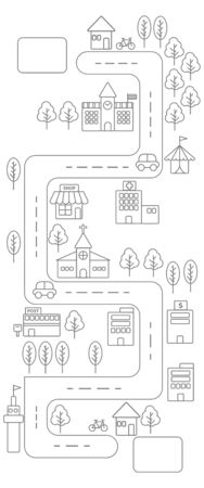 vetical: Vertical view of Simple line urban town map icon on white background